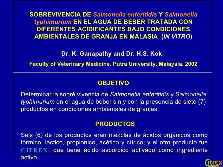 SOBREVIVENCIA DE  Salmonella enteritidis   Y   Salmonella typhimurium  EN EL AGUA DE BEBER TRATADA CON DIFERENTES ACIDIFIC...