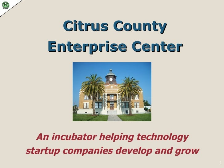Citrus County Enterprise Center An incubator helping technology startup companies develop and grow