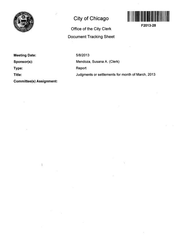 City of Chicago Office of the City Clerk Document Tracking Sheet F2013-28 Meeting Date: Sponsor(s): Type: Title: Committee...