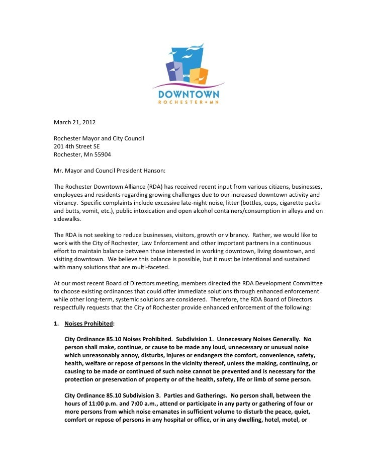 Rochester Downtown Alliance letter regarding ordinance enforcement 3 21-2012