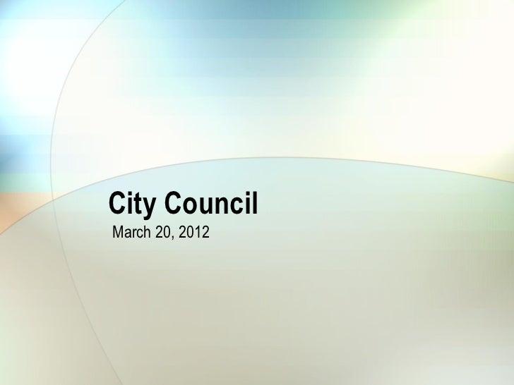 City Council March 20, 2012 Municipal Pool Rates