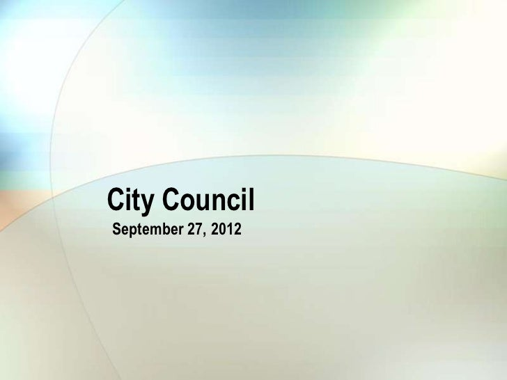 City CouncilSeptember 27, 2012