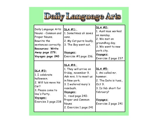 DLA #2:Daily Language Arts:   DLA #1:                                             1. Aunt mae workedNouns - Common and    ...