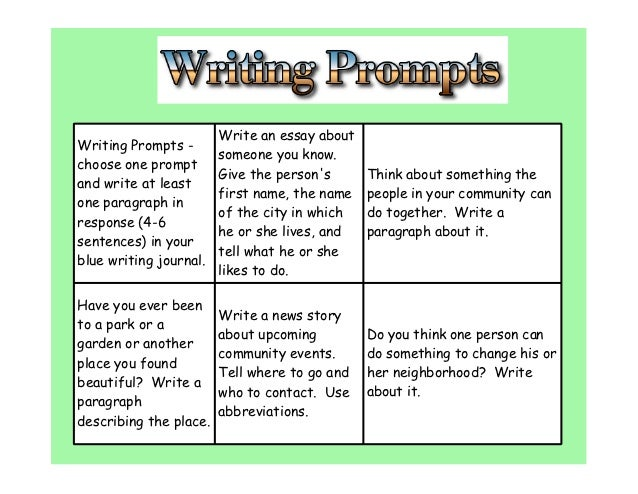 City green writing prompts