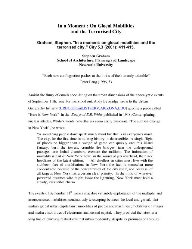 """In a Moment : On Glocal Mobilities and the Terrorised City Graham, Stephen. """"In a moment: on glocal mobilities and the ter..."""