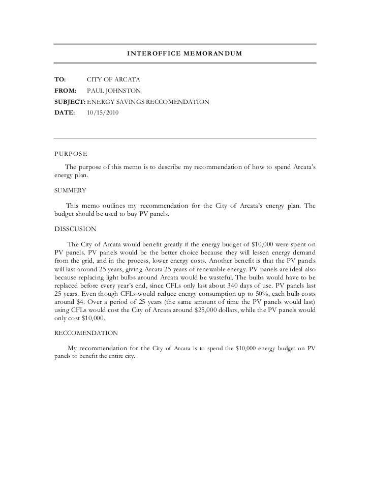 recommendation memo sample - Romeo.landinez.co