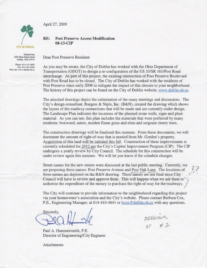 City Of Dublin Post Preserve Entry Modification Letter 042909