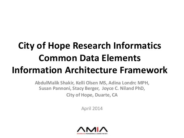 City of Hope Research Informatics Common Data Elements Information Architecture Framework AbdulMalik Shakir, Kelli Olsen M...