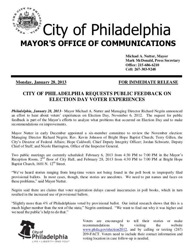 City of Philadelphia     MAYORS OFFICE OF COMMUNICATIONS                                                                  ...