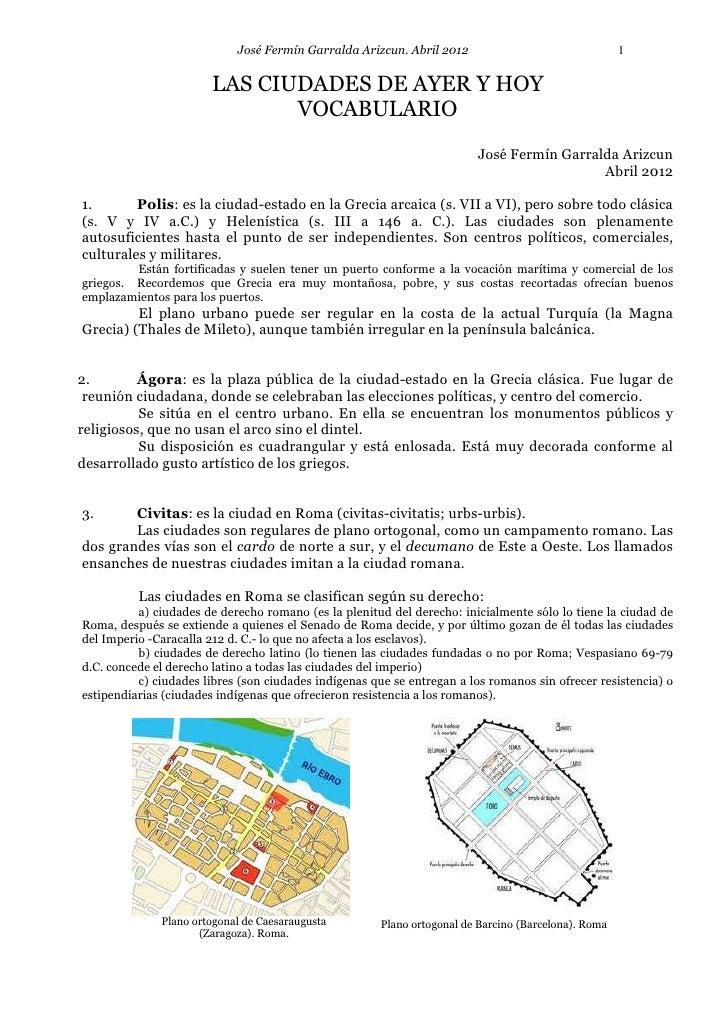 José Fermín Garralda Arizcun. Abril 2012                                  1                       LAS CIUDADES DE AYER Y H...