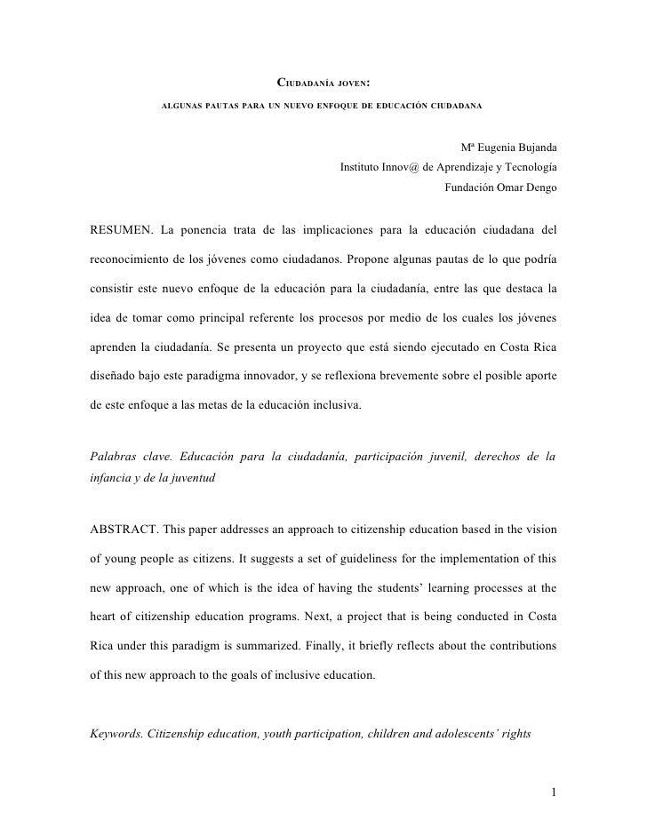 CIUDADANÍA JOVEN:               ALGUNAS PAUTAS PARA UN NUEVO ENFOQUE DE EDUCACIÓN CIUDADANA                               ...