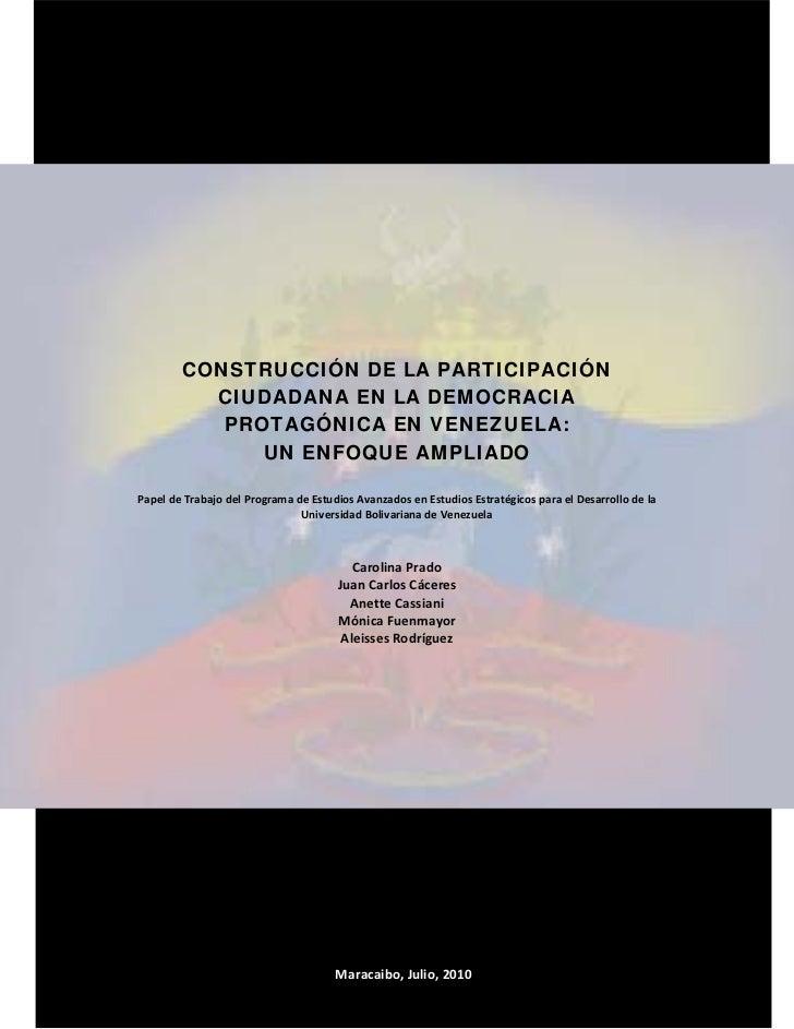 Ciudadanía participativa y democracia protagónica
