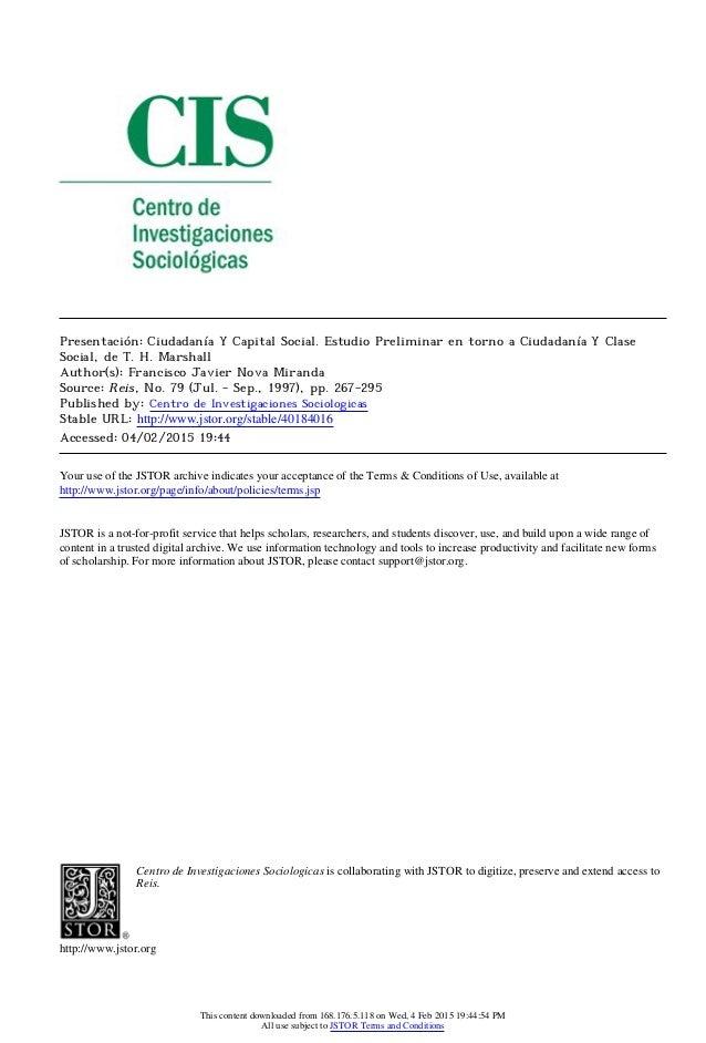 Presentación: Ciudadanía Y Capital Social. Estudio Preliminar en torno a Ciudadanía Y Clase Social, de T. H. Marshall Auth...