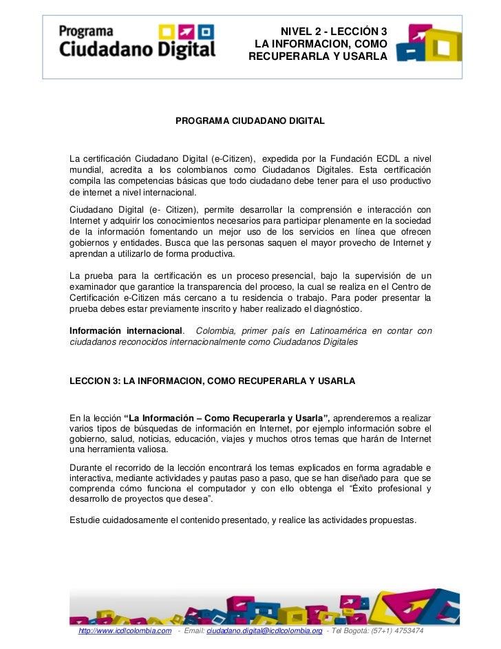 NIVEL 2 - LECCIÓN 3                                                    LA INFORMACION, COMO                               ...