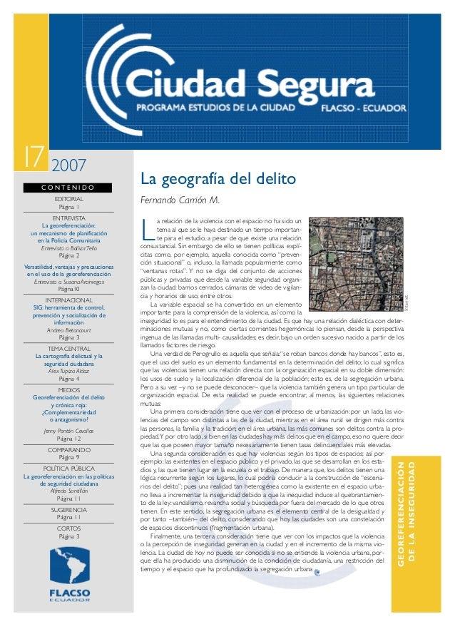 17 2007       CONTENIDO                                        La geografía del delito            EDITORIAL               ...