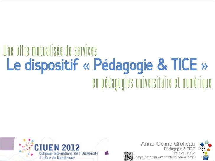 Une offre mutualisée de services Le dispositif « Pédagogie & TICE »                              en pédagogies universitai...