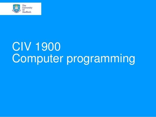 CIV 1900Computer programming