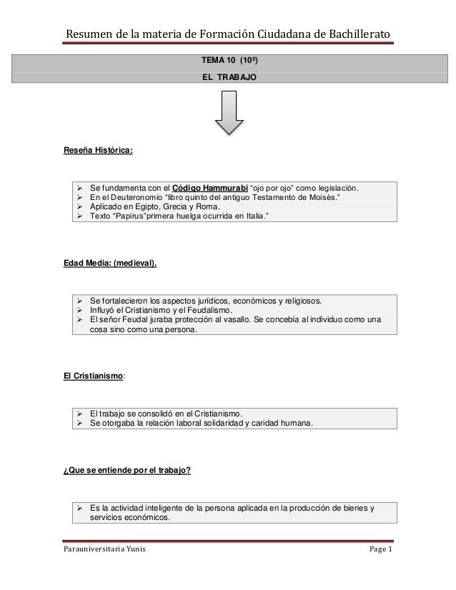 Resumen de la materia de Formación Ciudadana de Bachillerato Parauniversitaria Yunis Page 1 TEMA 10 (10º) EL TRABAJO Reseñ...