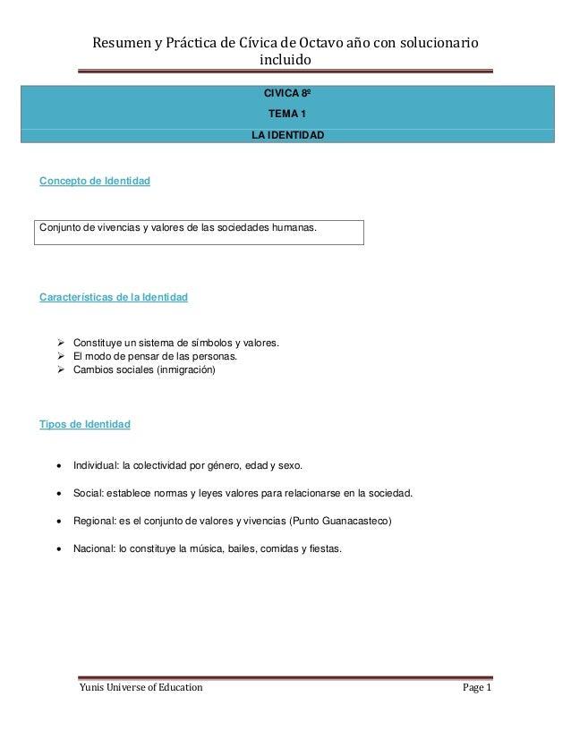 Resumen y Práctica de Cívica de Octavo año con solucionario                                    incluido                   ...