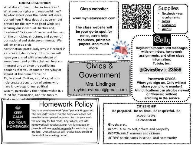 Civics & Government Mrs. Lindinger myhistoryteach@gmail.com Class website: www.myhistoryteach.com Register to receive text...