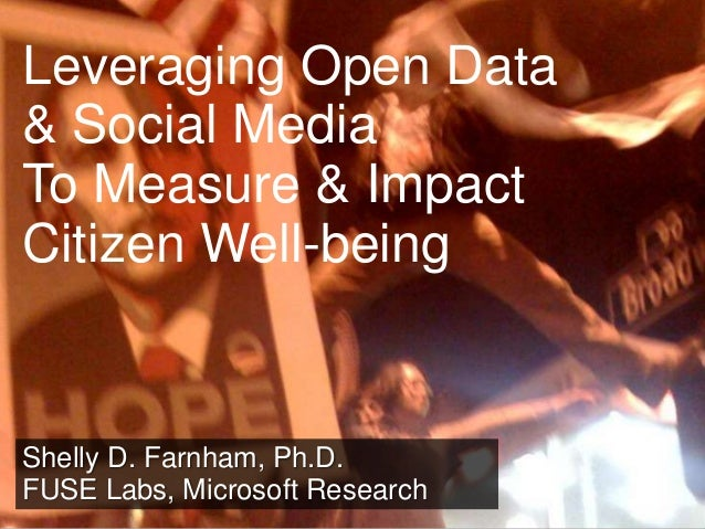 Leveraging Open Data & Social Media To Measure & Impact Citizen Well-being  Shelly D. Farnham, Ph.D. FUSE Labs, Microsoft ...