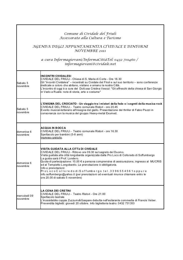 Cividale e dintorni / Agenda Appuntamenti  Novembre 2011