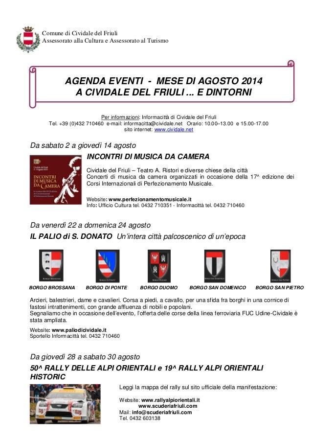 Agenda Eventi Cividale del Friuli - Agosto 2014