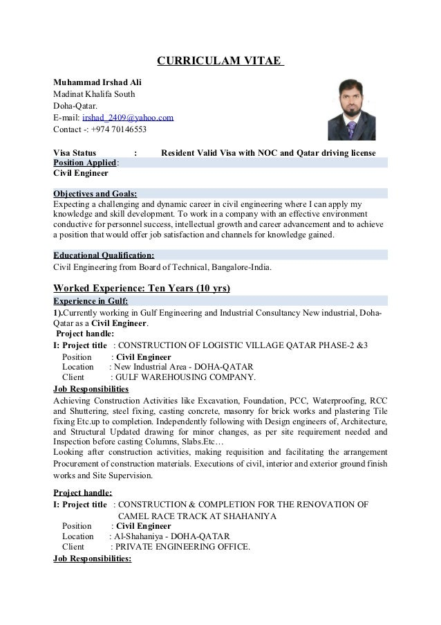 civil engineer sample resumes