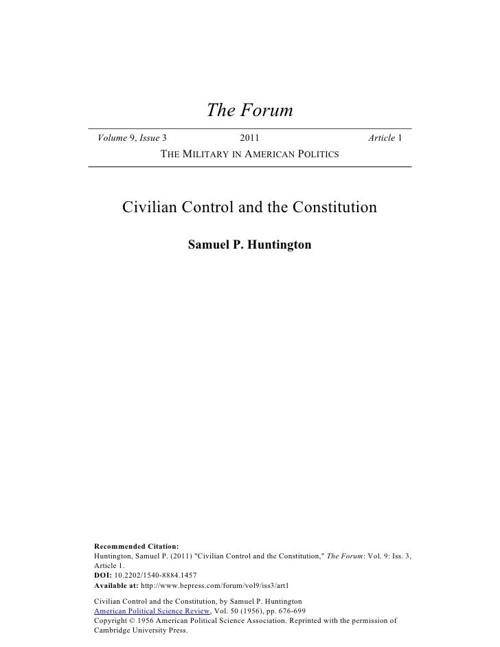 Civilian control and the constitution