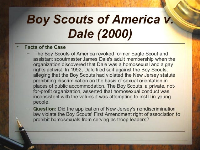 dale v boy scouts of america essay Boy scouts of america and monmouth council, et al v james dale no 99-699 supreme court of the united states 120 s ct 2446.