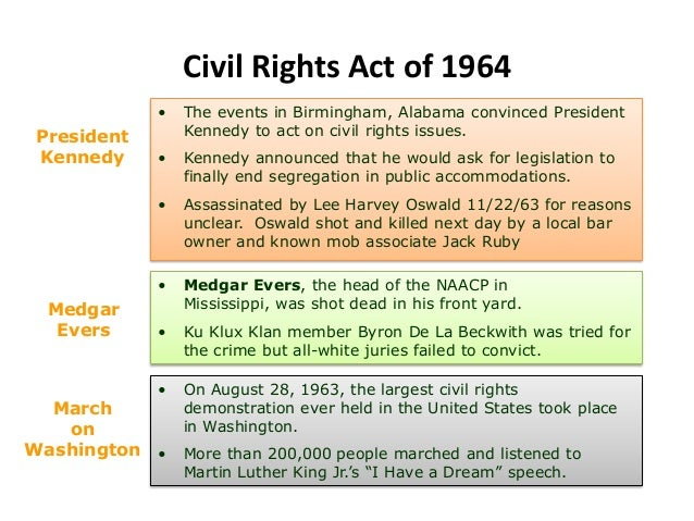 Civil Rights Act of 1964• Medgar Evers, the head of the NAACP inMississippi, was shot dead in his front yard.• Ku Klux Kla...