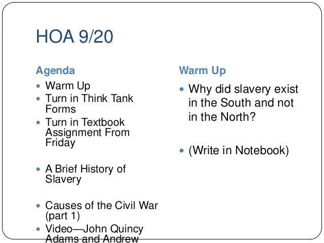 did slavery cause the civil war essay Thesis statement and outline thesis: the civil war was a turning point in us history because the civil war caused the slavery freemen.