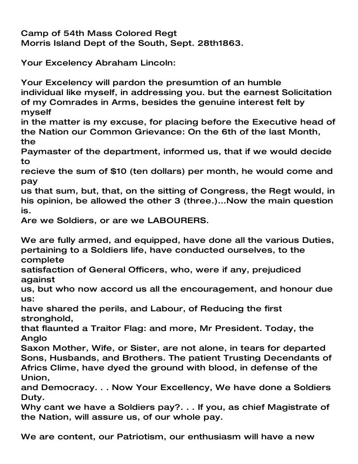 Camp of 54th Mass Colored Regt Morris Island Dept of the South, Sept. 28th1863.  Your Excelency Abraham Lincoln:  Your Exc...