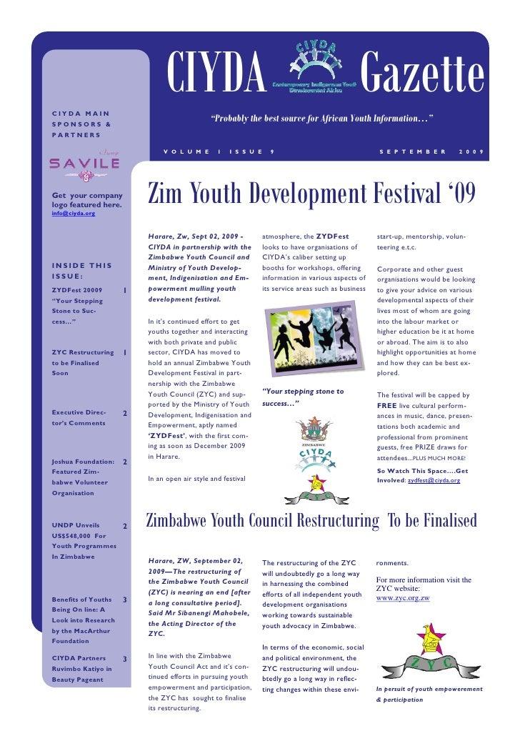 Ciyda Gazette September 2009 Issue