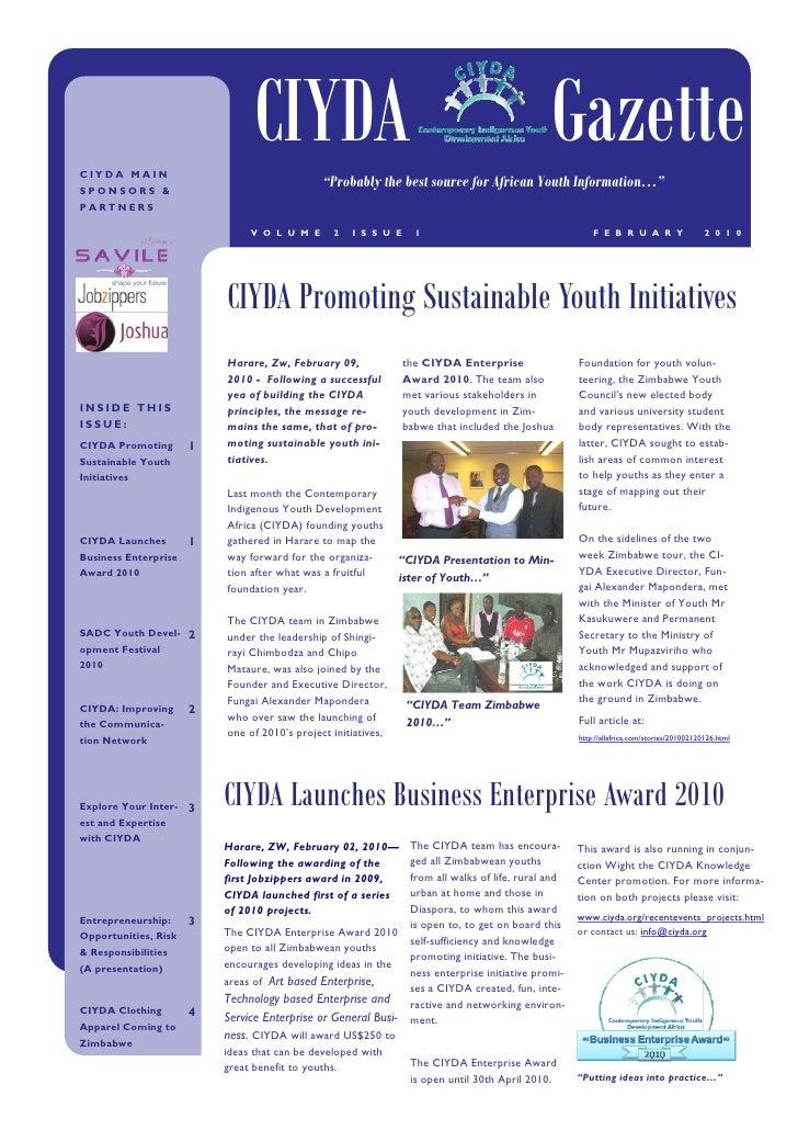 CIYDA Newsletter February 2010