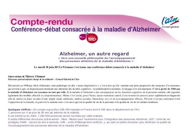 Alzheimer, un autre regard « Vers une nouvelle philosophie de l'accompagnement des personnes atteintes de la maladie d'Alz...
