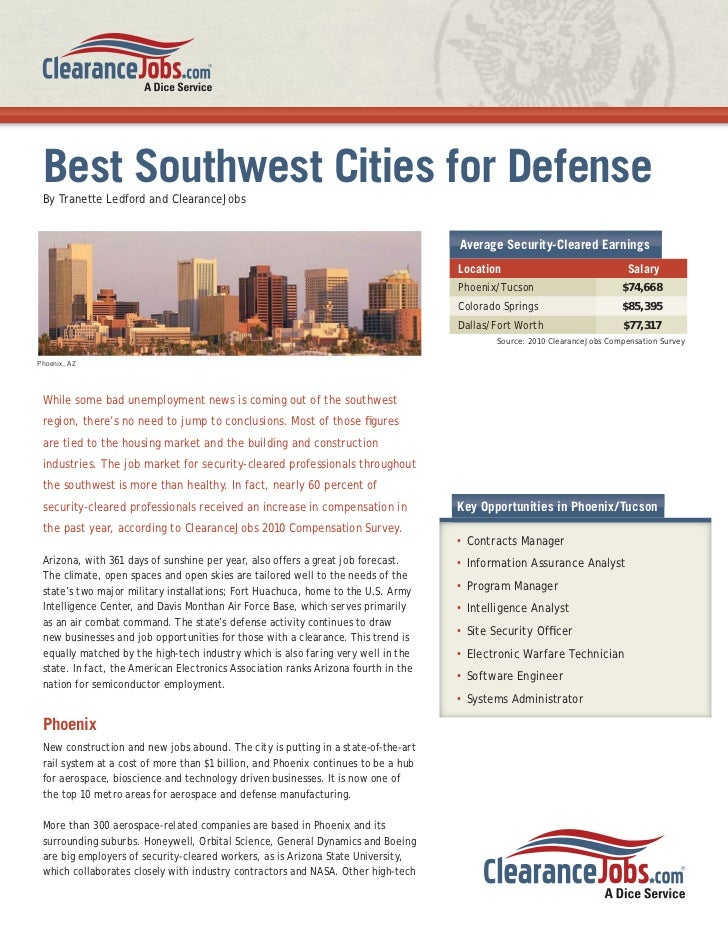 Security Clearance Jobs in Phoenix, Tucson, Colorado Springs, Dallas and Fort Worth