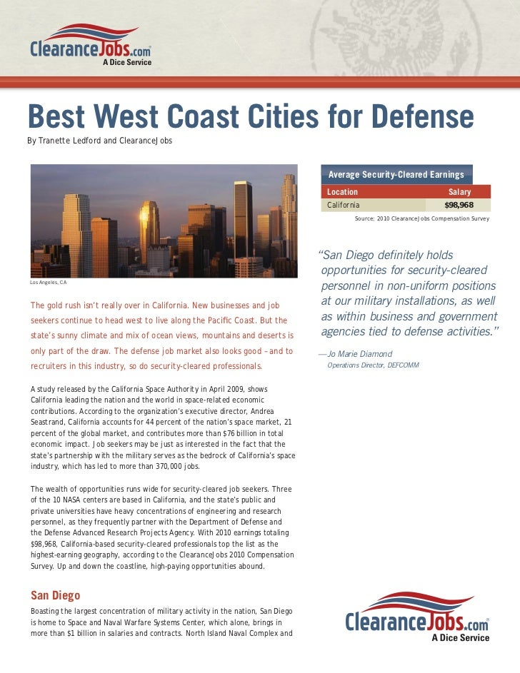 Best West Coast Cities for DefenseBy Tranette Ledford and ClearanceJobs                                                   ...