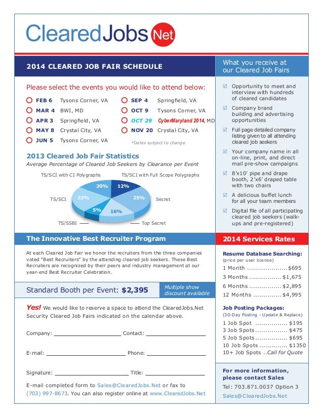2014 CLEARED JOB FAIR SCHEDULE Please select the events you would like to attend below: 2013 Cleared Job Fair Statistics A...