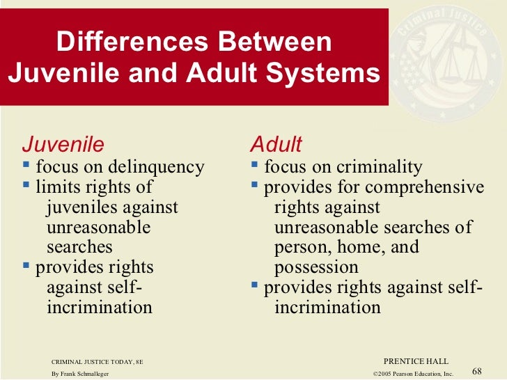 compare and contrast juvenile court process with adult criminal courts The new system removed juveniles from the adult criminal courts with the  to  grant juveniles all the protections of the criminal justice system, as evidenced by   the difference becomes more apparent in situations of stress, such as police.