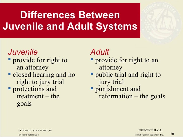 differences between adult and juvenile systems To believe that the original concept of juvenile justice was flawed1 public criticism of the juvenile court intensified during the last two decades of the 20th century, and many states began to abandon those aspects of juvenile justice that were once distinctly different from the criminal (adult) justice system many reforms were.