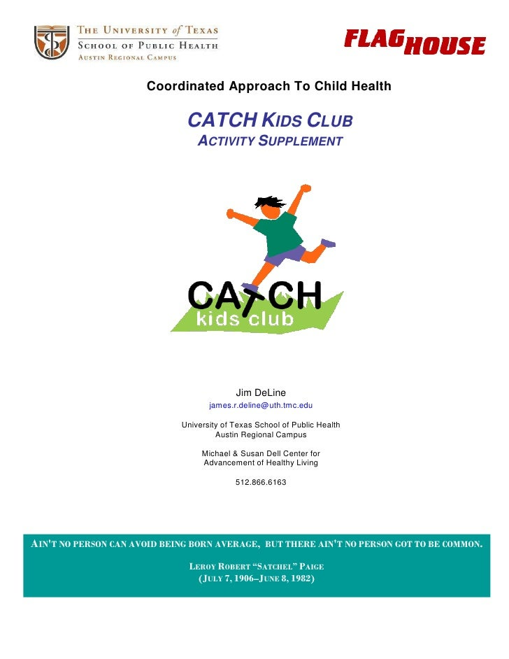 CATCH Kids Club Supplemental Activities