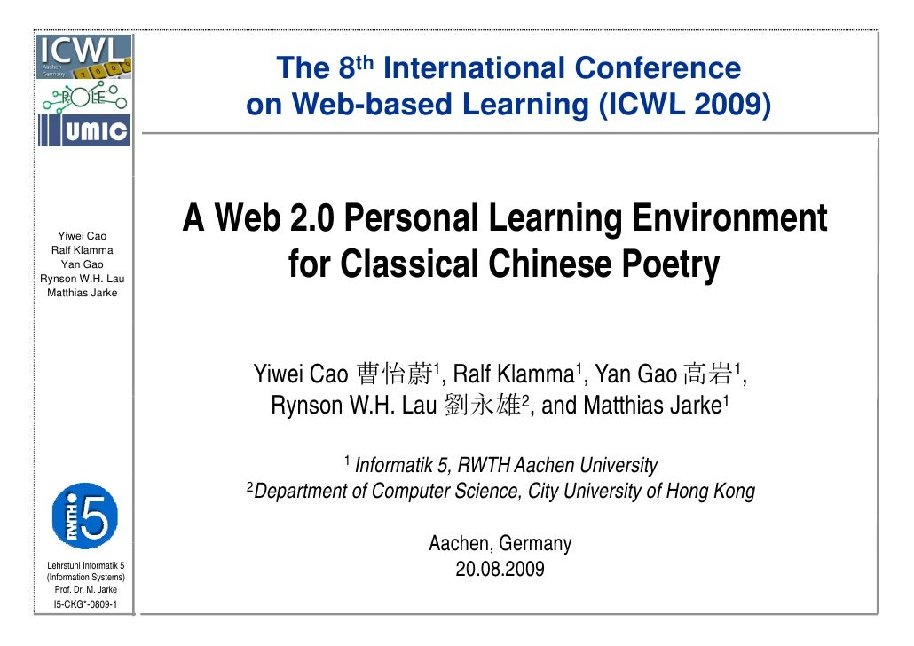 A Web 2.0 Personal Learning Environment for Classical Chinese Poetry