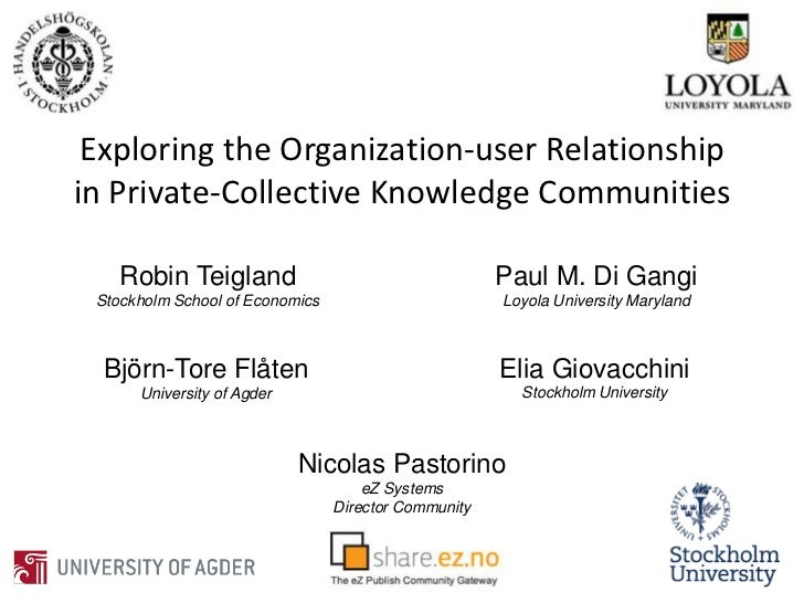 Exploring the Organization-user Relationship in Private-Collective Knowledge Communities<br />Robin Teigland<br />Stockhol...
