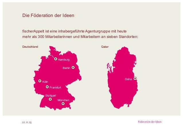 Die Föderation der Ideen 01.11.12 Hamburg Berlin Frankfurt Stuttgart Köln München Deutschland Qatar Doha fischerAppelt ist...