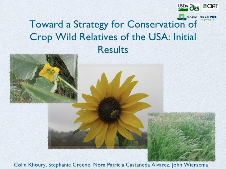 Toward a Strategy for Conservation of      Crop Wild Relatives of the USA: Initial                     ResultsColin Khoury...