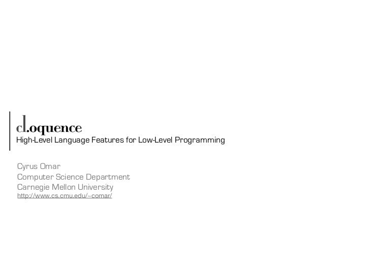 [Harvard CS264] 10b - cl.oquence: High-Level Language Abstractions for Low-Level Programming (Cyrus Omar, CMU)