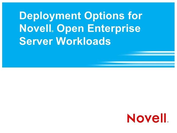 Deployment Options for Novell Open Enterprise Server Workloads
