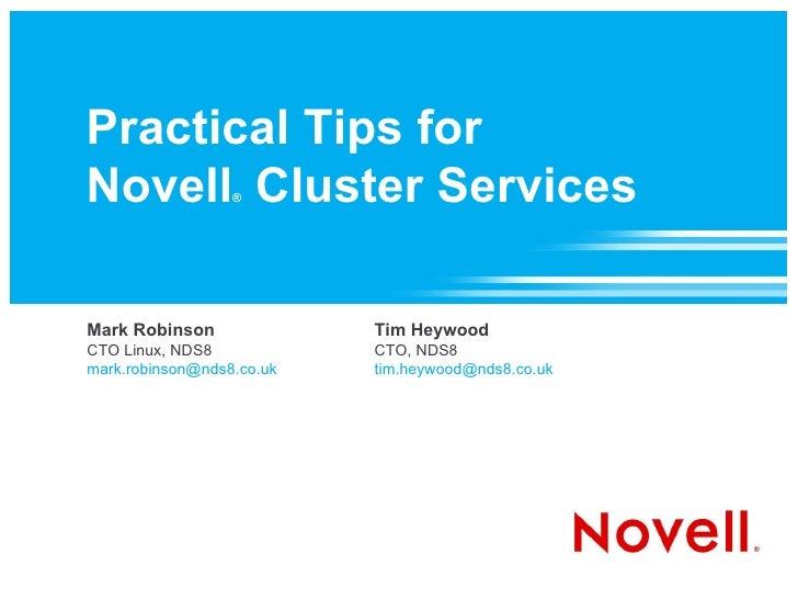 Practical Tips for Novell Cluster Services