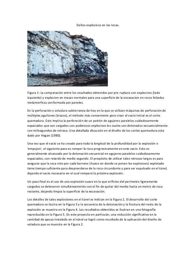 Daños explosivos en las rocas.Figura 1: La comparación entre los resultados obtenidos por pre ruptura con explocivos (lado...